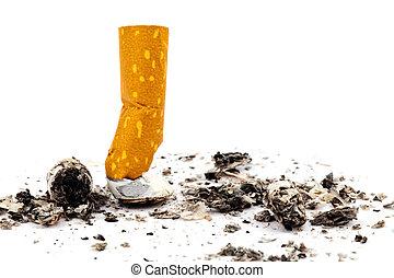halt, smoking., gedämpft, heraus, zigarette