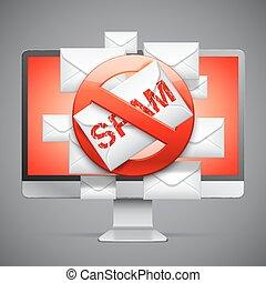 halt, spam, zeichen