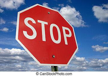 Halt! - Stop sign - focused sky