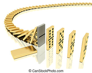 halted dominoes effect - On a image is shown golden domino ...