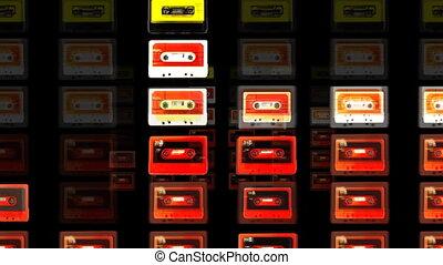 halten bewegung, von, a, sammlung, von, kühl, kassette,...