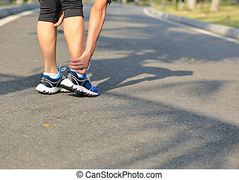 halten, frau, bein, verletzt, läufer, sport, sie
