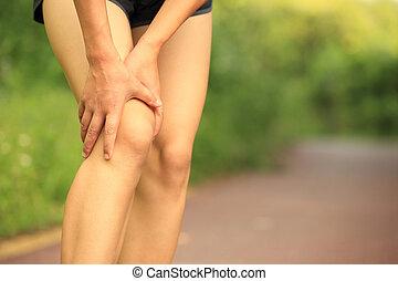 halten, frau, bein, verletzt, läufer