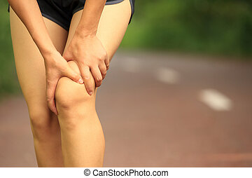 halten, frau, bein, verletzt, sport