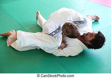 halten, judo, matte, praktiker