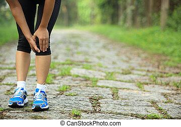 halten, läufer, bein, verletzt, sport, sie