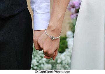 halten, paar, hand, mann, togethe, frauen