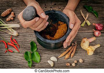 halten, paste, frauen, gewürz, curry, moerser, stößel, rotes...
