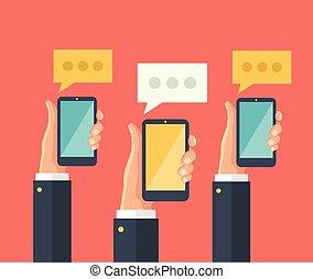 halten, smartphones, hände