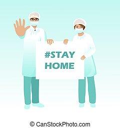 halten, stop., singen, klage, coronavirus, krankenschwester, covid-19., banner., doktor, ausbruch, situation., prävention, schützende maske