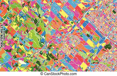 Colorful vector map of Halton Hills, Ontario, Canada. Art Map template for selfprinting wall art in landscape format.