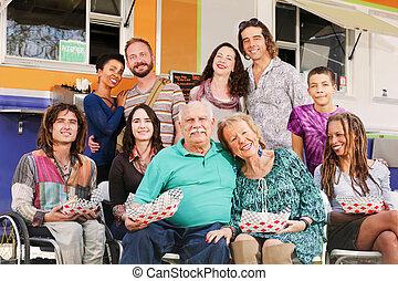 haltung, mehrere, familien, zusammen, glücklich