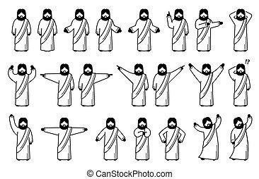 haltungen, posen, christus, actions., jesus, grundwortschatz, stehende