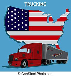 halv-, flagga, lastbil, illustration, amerikan, vektor
