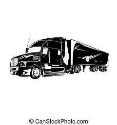 halv-, illustration, lastbil, vektor, ikon