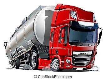 halv-, isolerat, lastbil, bakgrund, vit, tankfartyg, tecknad film