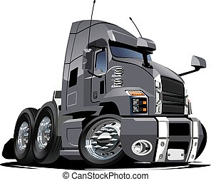 halv-, isolerat, lastbil, bakgrund, vit, tecknad film