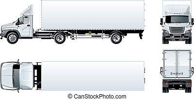 halv-, isolerat, vektor, lastbil, mall, vit