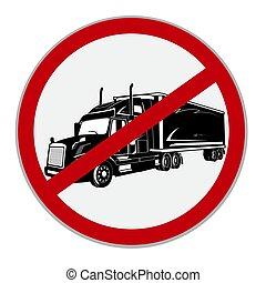 halv-, lastbilar, nej, skylt., illustration, vektor, tillåtet