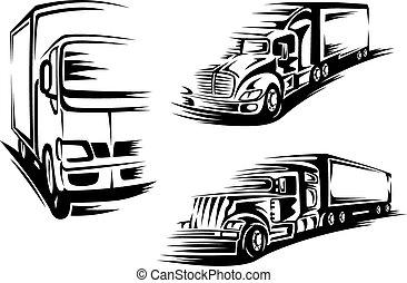 halv-, lastbilar, silhouettes, svart, lorry, släpvagn
