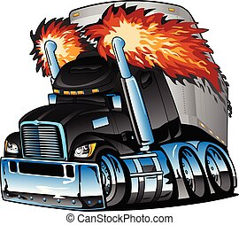 halv-, vektor, traktor, utströmning, rigg, svart, lott, tecknad film, isolerat, stor, lidelsefull, krom, släpvagn, illustration, lastbil