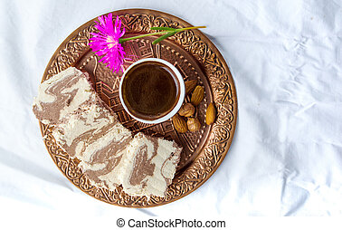 Halva dessert and Turkish coffee