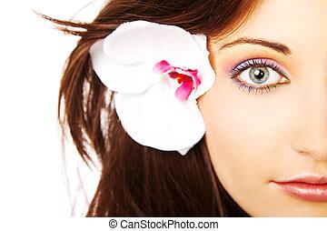 halve, øje, farverig, kvindelig ansigt