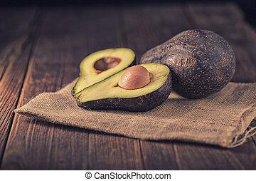 halved, avocado, rustiek, achtergrond., black , fris, tafel.