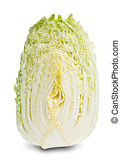 Halved chinese cabbage isolated on white. - Halved chinese...