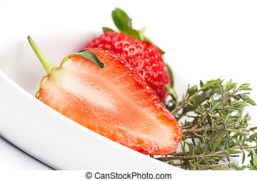 Halved fresh juicy ripe red strawberry