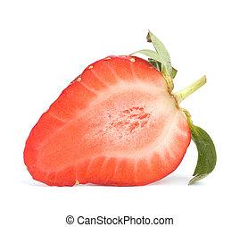 Halved strawberry isolated on white background close up