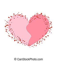 Halves heart icon pink white