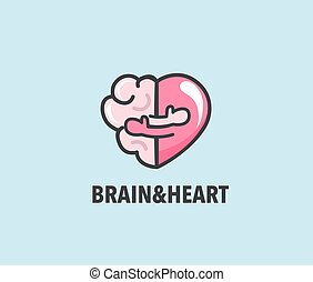 Halves of heart and brain that are hugging.