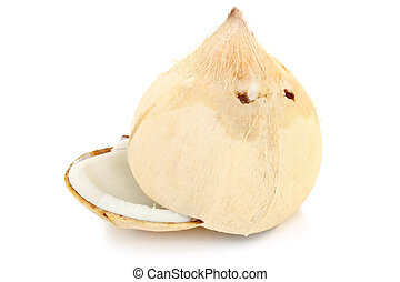 Halves of white coconut