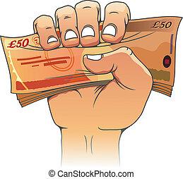 halvtreds, pund, banknote, hånd