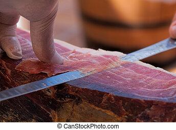 ham-2 - slicing spanish ham, Jamon iberico
