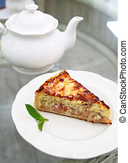 Ham and Bacon Quiche with teapot