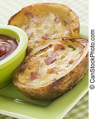 Ham and Cheddar Cheese Stuffed Potato Skins
