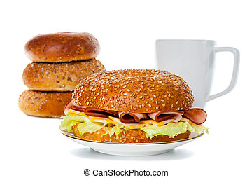Ham and Cheese Bagel Sandwich - Ham and cheese bagel...