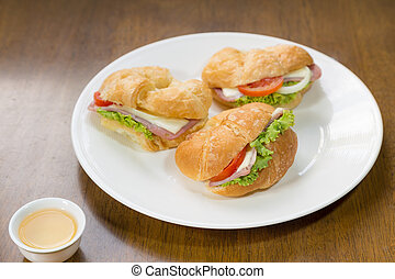 Ham and cheese croissant sandwich