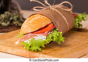 sandwich from fresh baguette - Ham and cheese salad ...