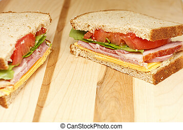 Ham and Cheese Sandwich with Lettuce and Tomato
