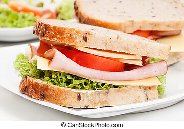 Ham and cheese sandwiches on plate