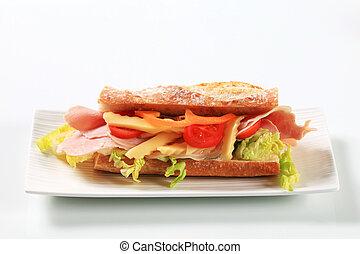 Ham and cheese sub sandwich