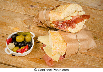 Ham and cheese sub - Traditional Spanish sub together with a...
