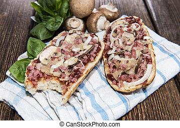Ham and Mushroom Pizza Baguette