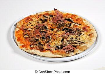 Ham and mushroom pizza.