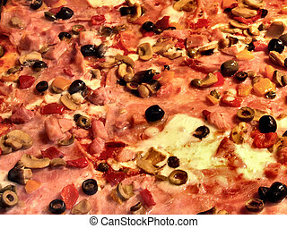 Ham and olives pizza topping