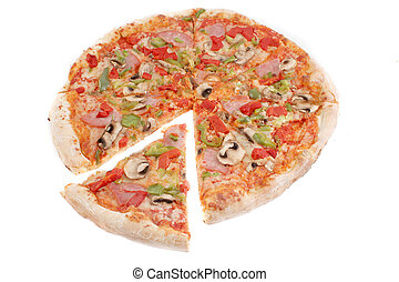 ham, and pepper pizza - a whole ham with mushrooms and...