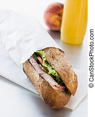 Ham And Salad Granary Baguette With Mango And Banana...